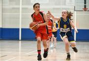 26 May 2018; Cillian O'Sullivan, from Castleisland, Co. Kerry, left, and Saiorse Reidy, from Kilcock, Co. Kildare, competing in the Basketball U11 & O9 Mixed event during the Aldi Community Games May Festival, which saw over 3,500 children take part in a fun-filled weekend at University of Limerick from 26th to 27th May. Photo by Sam Barnes/Sportsfile