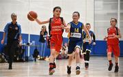 26 May 2018; Erin O'Connor, from Castleisland, Co. Kerry, left, and Kayla McGonagle, from Kilcock, Co. Kildare, competing in the Basketball U11 & O9 Mixed event during the Aldi Community Games May Festival, which saw over 3,500 children take part in a fun-filled weekend at University of Limerick from 26th to 27th May. Photo by Sam Barnes/Sportsfile