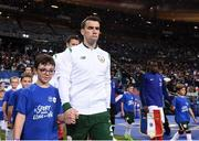 28 May 2018; Republic of Ireland captain Seamus Coleman leads his side out prior to the International Friendly match between France and Republic of Ireland at Stade de France in Paris, France. Photo by Stephen McCarthy/Sportsfile