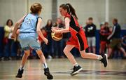 27 May 2018; Rebecca Reidy from Castleisland, Co. Kerry, right, and Aisling Jordan from Oranmore, Co Galway, competing in the Basketball U13 Girls event during during Day 2 of the Aldi Community Games May Festival, which saw over 3,500 children take part in a fun-filled weekend at University of Limerick from 26th to 27th May.  Photo by Sam Barnes/Sportsfile