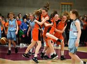 27 May 2018; Players from Castleisland, Co. Kerry, celebrate whilst competing in the Basketball U13 Girls event during during Day 2 of the Aldi Community Games May Festival, which saw over 3,500 children take part in a fun-filled weekend at University of Limerick from 26th to 27th May.  Photo by Sam Barnes/Sportsfile