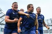 26 May 2018; Sean Cronin of Leinster celebrates with team-mates Tadhg Furlong, left, and Jack Conan, right, after scoring his side's third try during the Guinness PRO14 Final between Leinster and Scarlets at the Aviva Stadium in Dublin. Photo by Ramsey Cardy/Sportsfile
