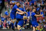 26 May 2018; Jordi Murphy, left, and Rob Kearney of Leinster celebrates after his side's fifth try during the Guinness PRO14 Final between Leinster and Scarlets at the Aviva Stadium in Dublin. Photo by Ramsey Cardy/Sportsfile