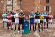 27 May 2018; The 12 captains of the World Rugby U20 Championship came together in front of the iconic Le Castillet in Perpignan, France. Pictured are, from left, Joaquin de la Vega of Argentina, Caelan Doris of Ireland, Tommy Reffell of Wales, Stafford McDowall of Scotland, Ben Curry of England, Tom Christie of New Zealand, Arthur Coville of France, Salmaan Moerat of South Africa, Ryan Lonergan of Australia, Michele Lamaro of  Italy, Beka Saginadze of Georgia, Hisanobu Okayama of Japan. Photo by Stéphanie Biscaye/World Rugby/Sportsfile