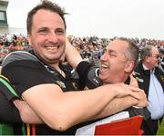 27 May 2018; Carlow trainer and selector Steven Poacher celebrates with team manager Turlough O'Brien after the Leinster GAA Football Senior Championship Quarter-Final match between Carlow and Kildare at O'Connor Park in Tullamore, Offaly. Photo by Matt Browne/Sportsfile