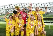 30 May 2018; The SPAR FAI Primary School 5s National Finals took place in Aviva Stadium on Wednesday, May 30th, where former Republic of Ireland International Keith Andrews and current Republic of Ireland women's footballer Megan Campbell were in attendance supporting as girls and boys from 13 counties battled it out for national honours. Pictured is Scoil Íosagáin, Buncrana team, Inishowen, Co. Donegal, during the SPAR FAI Primary School 5s National Finals at Aviva Stadium in Dublin.  Photo by Sam Barnes/Sportsfile