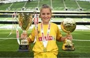 30 May 2018; The SPAR FAI Primary School 5s National Finals took place in Aviva Stadium on Wednesday, May 30th, where former Republic of Ireland International Keith Andrews and current Republic of Ireland women's footballer Megan Campbell were in attendance supporting as girls and boys from 13 counties battled it out for national honours. Pictured is Jodie Loughrey of Scoil Íosagáin, Buncrana, Inishowen, Co. Donegal, with her Player of the Tournament Award and the Girls Section C Cup during the SPAR FAI Primary School 5s National Finals at Aviva Stadium in Dublin.  Photo by Sam Barnes/Sportsfile