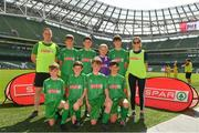 30 May 2018; The SPAR FAI Primary School 5s National Finals took place in the Aviva Stadium on Wednesday, May 30th, where former Republic of Ireland International Keith Andrews and current Republic of Ireland women's footballer Megan Campbell were in attendance supporting as girls and boys from 13 counties battled it out for national honours. Pictured are players and coaches from Scoil Naisiúnta, Co. Galway, prior to the SPAR FAI Primary School 5s National Finals at Aviva Stadium in Dublin. Photo by Harry Murphy/Sportsfile