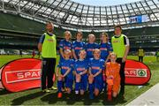 30 May 2018; The SPAR FAI Primary School 5s National Finals took place in the Aviva Stadium on Wednesday, May 30th, where former Republic of Ireland International Keith Andrews and current Republic of Ireland women's footballer Megan Campbell were in attendance supporting as girls and boys from 13 counties battled it out for national honours. Pictured are players and coaches from Our Lady of Good Counsel GNS, Co. Dublin, prior to the SPAR FAI Primary School 5s National Finals at Aviva Stadium in Dublin. Photo by Harry Murphy/Sportsfile