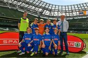 30 May 2018; The SPAR FAI Primary School 5s National Finals took place in the Aviva Stadium on Wednesday, May 30th, where former Republic of Ireland International Keith Andrews and current Republic of Ireland women's footballer Megan Campbell were in attendance supporting as girls and boys from 13 counties battled it out for national honours. Pictured are players and coaches from Scoil Assaim, Co. Dublin, prior to the SPAR FAI Primary School 5s National Finals at Aviva Stadium in Dublin. Photo by Harry Murphy/Sportsfile