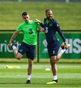31 May 2018; David Meyler, right, and Seamus Coleman during a Republic of Ireland training session at the FAI National Training Centre in Abbotstown, Dublin. Photo by Stephen McCarthy/Sportsfile