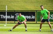 31 May 2018; John O'Shea, left, and Shane Long during a Republic of Ireland training session at the FAI National Training Centre in Abbotstown, Dublin. Photo by Stephen McCarthy/Sportsfile