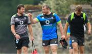 31 May 2018; Coach Jared Payne, left, with Jack McGrath, centre, and Jordi Murphy during Ireland squad training at Carton House in Maynooth, Co. Kildare. Photo by Ramsey Cardy/Sportsfile