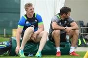 31 May 2018; Dan Leavy, left, and coach Jared Payne during Ireland squad training at Carton House in Maynooth, Co. Kildare. Photo by Ramsey Cardy/Sportsfile