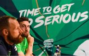 31 May 2018; Matt Doherty, right, and David Meyler during a Republic of Ireland press conference at the FAI National Training Centre in Abbotstown, Dublin. Photo by Stephen McCarthy/Sportsfile