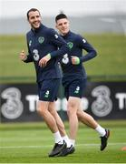 1 June 2018; John O'Shea, left, and Declan Rice during Republic of Ireland training at the FAI National Training Centre in Abbotstown, Dublin. Photo by Stephen McCarthy/Sportsfile