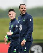 1 June 2018; John O'Shea, right, and Declan Rice during Republic of Ireland training at the FAI National Training Centre in Abbotstown, Dublin. Photo by Stephen McCarthy/Sportsfile