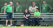 1 June 2018; Shane Long with assistant coach Steve Walford, left, and equipment officer Dick Redmond, centre, during Republic of Ireland training at the FAI National Training Centre in Abbotstown, Dublin. Photo by Stephen McCarthy/Sportsfile