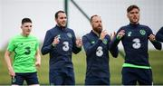 1 June 2018; John O'Shea, second from left, with his Republic of Ireland team-mates Declan Rice, left, David Meyler and Jeff Hendrick, right, during training at the FAI National Training Centre in Abbotstown, Dublin. Photo by Stephen McCarthy/Sportsfile