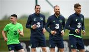 1 June 2018; Republic of Ireland, from left, Declan Rice, John O'Shea, David Meyler and Jeff Hendrick during training at the FAI National Training Centre in Abbotstown, Dublin. Photo by Stephen McCarthy/Sportsfile