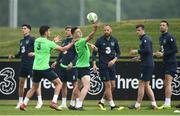 1 June 2018; Players, from left, Callum O'Dowda, John Egan, Jeff Hendrick, Declan Rice, David Meyler, Kevin Long and Shane Duffy during Republic of Ireland training at the FAI National Training Centre in Abbotstown, Dublin. Photo by Stephen McCarthy/Sportsfile
