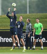 1 June 2018; Players, from left, Kevin Long, Shane Duffy and Seamus Coleman during Republic of Ireland training at the FAI National Training Centre in Abbotstown, Dublin. Photo by Stephen McCarthy/Sportsfile