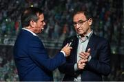 1 June 2018; Republic of Ireland manager Martin O'Neill speaks with RTE Presenter Peter Collins at the CRISC Player of the Year Awards at  Ballsbridge Hotel, Dublin. Photo by David Fitzgerald/Sportsfile