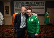1 June 2018; Republic of Ireland manager Martin O'Neill with Eddie O'Mahony from '40 Shades of Green' during the CRISC Player of the Year Awards at  Ballsbridge Hotel, Dublin. Photo by David Fitzgerald/Sportsfile