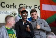 1 June 2018; Chiedozie Ogbene of Brentford FC and Aaron Drinan of Ipswich Town FC during the SSE Airtricity League Premier Division match between Cork City and Waterford at Turner's Cross, Cork. Photo by Eóin Noonan/Sportsfile