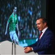 1 June 2018; RTE Presenter Peter Collins introduces a tribute to the late Liam Miller at the CRISC Player of the Year Awards at  Ballsbridge Hotel, Dublin. Photo by David Fitzgerald/Sportsfile