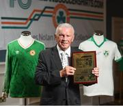 1 June 2018; Former Republic of Ireland international John Giles with his outstanding achievement award at the CRISC Player of the Year Awards at  Ballsbridge Hotel, Dublin. Photo by David Fitzgerald/Sportsfile