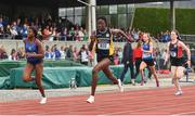 2 June 2018; Rhasidat Adeleke of Presentation Terenure, Co. Dublin, on her way to winning the Intermediate Girls 100 Metres, ahead of Patience Jumbo-Gula of St Vincent's Dundalk, Co. Louth, left, who finished second, during the Irish Life Health All-Ireland Schools Track and Field Championships at Tullamore Harriers Stadium in Tullamore, Co. Offaly. Photo by Sam Barnes/Sportsfile
