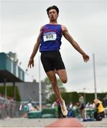 2 June 2018; Rafael McCaffrey of Ratoath College, Co. Meath, competing in the Intermediate Boys Long Jump during the Irish Life Health All-Ireland Schools Track and Field Championships at Tullamore Harriers Stadium in Tullamore, Co. Offaly. Photo by Sam Barnes/Sportsfile