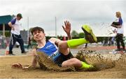 2 June 2018; Jake Costello of Comeragh College, Co. Tipperary, competing in the Intermediate Boys Long Jump  during the Irish Life Health All-Ireland Schools Track and Field Championships at Tullamore Harriers Stadium in Tullamore, Co. Offaly. Photo by Sam Barnes/Sportsfile