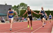 2 June 2018; Mark Glynn of Patrician Newbridge, Co. Kildare, crosses the line to win the Senior Boys 800 Metres during the Irish Life Health All-Ireland Schools Track and Field Championships at Tullamore Harriers Stadium in Tullamore, Co. Offaly. Photo by Sam Barnes/Sportsfile