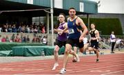 2 June 2018; Aaron Sexton of Bangor Grammar, Co. Down, right, on his way to winning the Senior Boys 200 Metres, ahead of David  McDonald of CBS Wexford, Co. Wexford, during the Irish Life Health All-Ireland Schools Track and Field Championships at Tullamore Harriers Stadium in Tullamore, Co. Offaly. Photo by Sam Barnes/Sportsfile