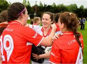 2 June 2018; Cork goalkeeper Martina O'Brien is congratulated by her team-mates Hannah Looney and Emma Spollane after the TG4 Munster Senior Ladies Football Championship semi-final between Tipperary and Cork at Ardfinnan, Tipperary. Photo by Matt Browne/Sportsfile