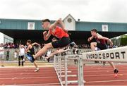 2 June 2018; Evan Farrelly of Oaklands CC Edenderry, Co. Offaly, competing in the Minor Boys 75 Metre Hurdles during the Irish Life Health All-Ireland Schools Track and Field Championships at Tullamore Harriers Stadium in Tullamore, Co. Offaly. Photo by Sam Barnes/Sportsfile