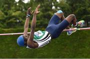 2 June 2018; Nelvin Appiah of Moyne CS Longford, Co. Longford, clears 2.02m to win the Intermediate Boys High Jump and set a new record during the Irish Life Health All-Ireland Schools Track and Field Championships at Tullamore Harriers Stadium in Tullamore, Co. Offaly. Photo by Sam Barnes/Sportsfile