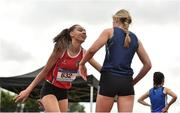 2 June 2018; Davicia Patterson of Hunterhouse Belfast, left, reacts after winning the Senior Girls 400 Metres during the Irish Life Health All-Ireland Schools Track and Field Championships at Tullamore Harriers Stadium in Tullamore, Co. Offaly. Photo by Sam Barnes/Sportsfile