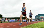 2 June 2018; Sean Donohue of St Declan's Cabra, Co. Dublin, on his way to winning the Under 16 Boys 1 Mile during the Irish Life Health All-Ireland Schools Track and Field Championships at Tullamore Harriers Stadium in Tullamore, Co. Offaly. Photo by Sam Barnes/Sportsfile