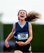 2 June 2018; Meabh O'Neil of MICC Dunmanway, Co. Cork, celebrates winning the Junior Girls 1500 Metres during the Irish Life Health All-Ireland Schools Track and Field Championships at Tullamore Harriers Stadium in Tullamore, Co. Offaly. Photo by Sam Barnes/Sportsfile
