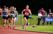 2 June 2018; Sarah Healy of Holy Child Killiney, Co. Dublin, on her way to winning the Senior Girls 1500 Metres during the Irish Life Health All-Ireland Schools Track and Field Championships at Tullamore Harriers Stadium in Tullamore, Co. Offaly. Photo by Sam Barnes/Sportsfile
