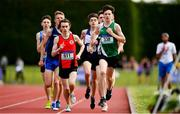 2 June 2018; Cian Mc Phillips of Moyne CS Longford, Co. Longford, right, on his way to winning the Intermediate Boys 1500 Metres during the Irish Life Health All-Ireland Schools Track and Field Championships at Tullamore Harriers Stadium in Tullamore, Co. Offaly. Photo by Sam Barnes/Sportsfile