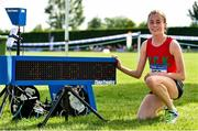 2 June 2018; Sarah Healy of Holy Child Killiney, Co. Dublin, poses with the clock after winning the Senior Girls 1500 Metres in a record time of 4:18:32 during the Irish Life Health All-Ireland Schools Track and Field Championships at Tullamore Harriers Stadium in Tullamore, Co. Offaly. Photo by Sam Barnes/Sportsfile