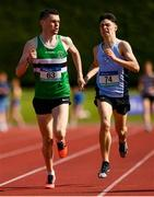 2 June 2018; Charlie O'Donovan of Colaiste Chriost Ri , Co. Cork, left, on his way to winning the Senior Boys 1500 Metres, ahead of Darragh McElhinney of Col Pobail Bantry, Co. Cork, who finished second, during the Irish Life Health All-Ireland Schools Track and Field Championships at Tullamore Harriers Stadium in Tullamore, Co. Offaly. Photo by Sam Barnes/Sportsfile