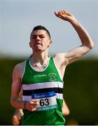 2 June 2018; Charlie O'Donovan of Colaiste Chriost Ri , Co. Cork, celebrates winning the Senior Boys 1500 Metres during the Irish Life Health All-Ireland Schools Track and Field Championships at Tullamore Harriers Stadium in Tullamore, Co. Offaly. Photo by Sam Barnes/Sportsfile