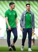 2 June 2018; Declan Rice, left, and Callum O'Dowda of Republic of Ireland walks the pitch prior to the International Friendly match between Republic of Ireland and the United States at the Aviva Stadium in Dublin. Photo by Stephen McCarthy/Sportsfile