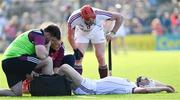 2 June 2018; Joe Canning of Galway is treated for an injury as teammate Conor Whelan looks on during the Leinster GAA Hurling Senior Championship Round 4 match between Wexford and Galway at Innovate Wexford Park in Wexford. Photo by Ramsey Cardy/Sportsfile
