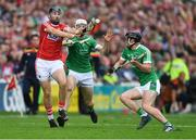 2 June 2018; Dean Brosnan of Cork in action against Kyle Hayes, and Darragh O'Donovan, right, of Limerick during the Munster GAA Hurling Senior Championship Round 3 match between Cork and Limerick at Páirc Uí Chaoimh in Cork. Photo by Piaras Ó Mídheach/Sportsfile